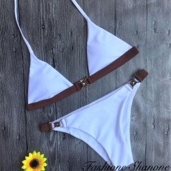 Fashione Shanone - White and brown brazilian bikini