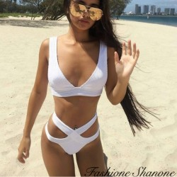 Fashione Shanone - White high waist bikini