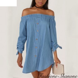 Fashione Shanone - Denim dress with Bardot neckline