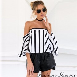 Fashione Shanone - Striped top with Bardot neckline