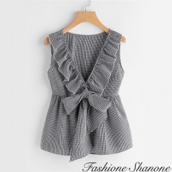 Fashione Shanone - Plunging neckline plaid top