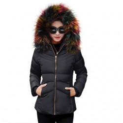 Fashione Shanone - Down coat with multicolor fur hood