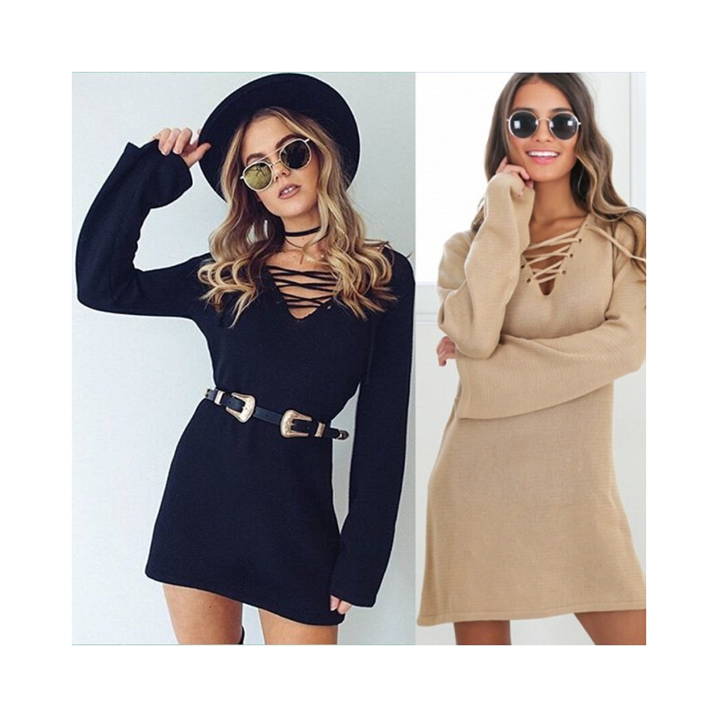 Robe pull lacet