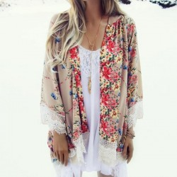 Fashione Shanone - Flowery kimono with lace