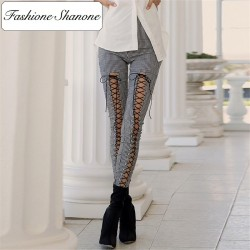 Fashione Shanone - Lace up gingham trousers