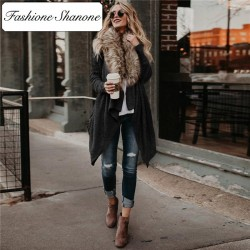 Fashione Shanone - Mid-length cardigan with fur