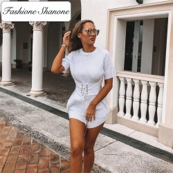 Fashione Shanone - White t-shirt with corset belt