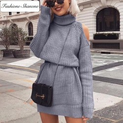 Sweater dress with off shoulders