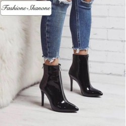 Fashione Shanone - Patent boots with zipper