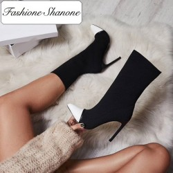 Sock ankle boots with leather toe