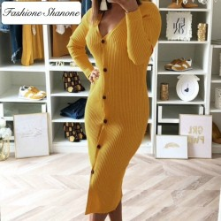 Fashione Shanone - Long buttoned sweater dress