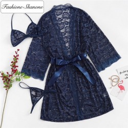 Fashione Shanone - Lace thong bra and dressing gown set