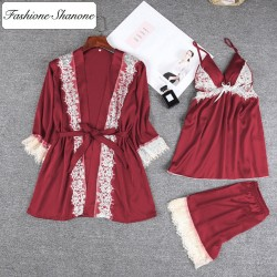 Fashione Shanone - Ensemble top short et robe de chambre en satin