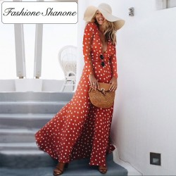 Fashione Shanone - Long red dress with polka dot