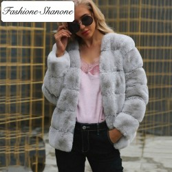 Fashione Shanone - Stripped fur coat