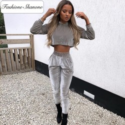 Fashione Shanone - Velvet pants and sweatshirt set
