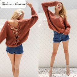 Fashione Shanone - Lace up backless sweater