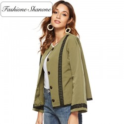 Fashione Shanone - Army green jacket with lace
