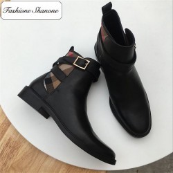 Fashione Shanone - Limited stock - Ankle boots with plaid patchwork