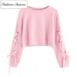 Fashione Shanone - Limited stock - Pink lace up sweatshirt