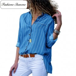 Fashione Shanone - Limited stock - Stripped blue shirt