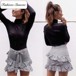 Fashione Shanone - Limited stock - Gingham mini skirt with ruffle