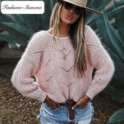 Fashione Shanone - Stock limité - Pull rose avec large encolure