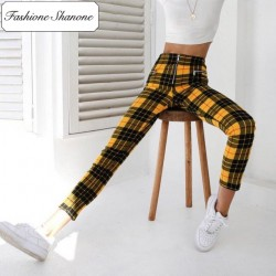 Fashione Shanone - Limited stock - Yellow plaid trousers