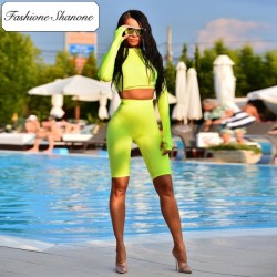 Fashione Shanone - Stock limité - Ensemble crop top et short cycliste