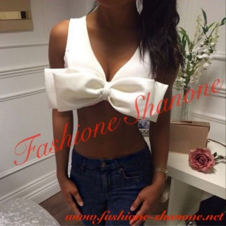 305 - Bow knot white top