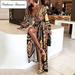 Fashione Shanone - Limited stock - Golden pattern maxi dress