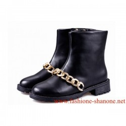 305 - Black ankle boots with gold chain