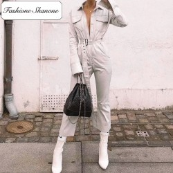 Fashione Shanone - Limited stock - White casual jumpsuit