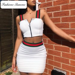 Fashione Shanone - Limited stock - Red and green stripped skirt and crop top set