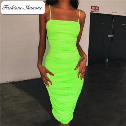 Fashione Shanone - Limited stock - Fluo mid length bodycon dress