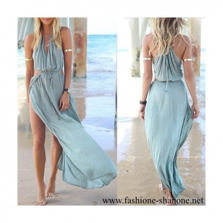 305 - Long bohemian blue dress