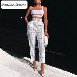 Fashione Shanone - Limited stock - Plaid high waist pants