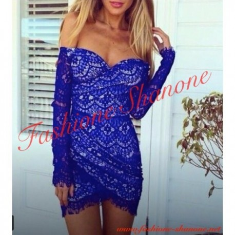 305 - Shoulder off lace blue dress