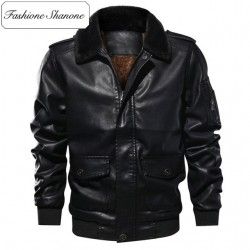 Fashione Shanone - Limited stock - Leather jacket with fur collar