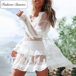 Fashione Shanone - Transparent white flared dress
