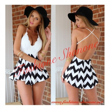 305 - Black and white jumpsuit