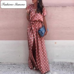 Fashione Shanone - Pink maxi dress with polka dot