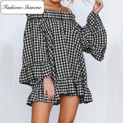 Fashione Shanone - Gingham dress with Bardot neckline