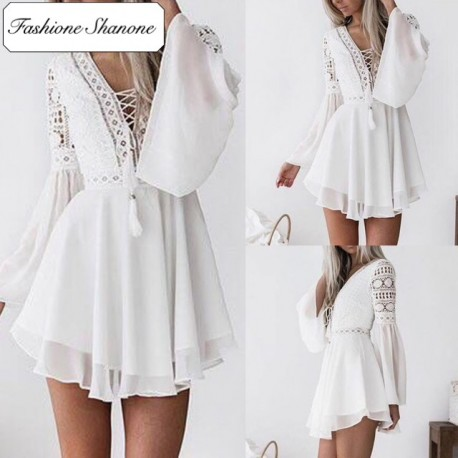 Fashione Shanone - White boho dress