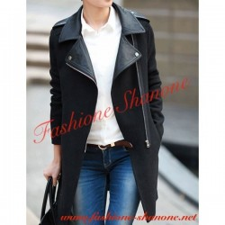 305 - Leather patchwork and blends zipper coat