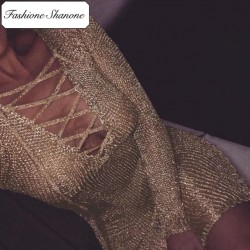 Fashione Shanone - Golden knit dress