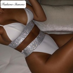 Fashione Shanone - High waist bikini with rhinestone