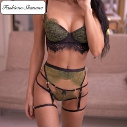 Fashione Shanone - Army green lingerie set with garter