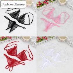 Less than 10 euros - Underwear set with slit crotchless thong