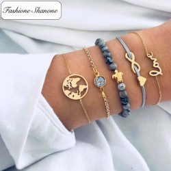 Less than 10 euros - World map bracelets set